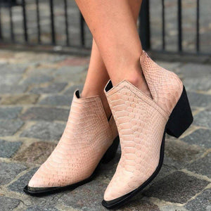 Plus Size Chic Leather Side Cut Chunky Heel Ankle Booties