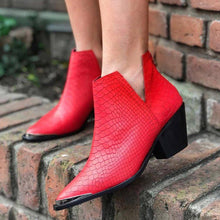 Load image into Gallery viewer, Plus Size Chic Leather Side Cut Chunky Heel Ankle Booties