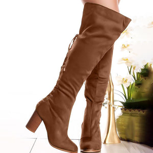 Plus Size Back Lace Up Suede Chunky Heel Knee Boots