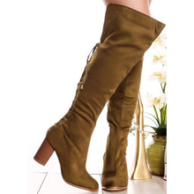 Load image into Gallery viewer, Plus Size Back Lace Up Suede Chunky Heel Knee Boots