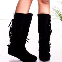 Load image into Gallery viewer, Plus Size Tassel Boho Suede Flat Heel Mid Boots