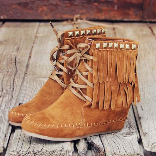 Plus Size Tassel Boho Suede Wedge Heel Ankle Boots