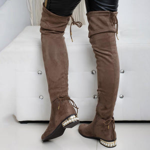 Plus Size Stylish Flocking Chunky Heel Lace Up Knee Boots