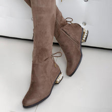 Load image into Gallery viewer, Plus Size Stylish Flocking Chunky Heel Lace Up Knee Boots
