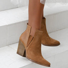 Load image into Gallery viewer, Plus Size Chic Suede Side Cut Chunky Heel Ankle Boots