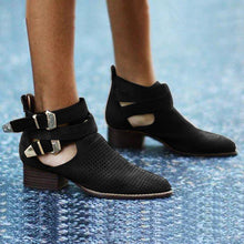 Load image into Gallery viewer, Plus Size Suede Hollow Out Chunky Heel Buckle Ankle Booties