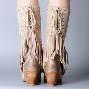 Plus Size Tassel Boho Suede Chunky Heel Mid Boots