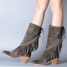 Load image into Gallery viewer, Plus Size Tassel Boho Suede Chunky Heel Mid Boots