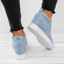 Load image into Gallery viewer, Fashion Letter Slip On Wedge Sneakers Faux Suede Wedge Heel Casual Sneakers