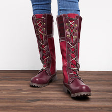 Load image into Gallery viewer, Waterproof Knitted Fabric Paneled Boots Casual Mid-calf Warm Boots