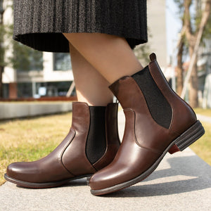 Women's Vintage Low Heel Plus Size Ankle Booties Slip-on Short Chelsea Boots
