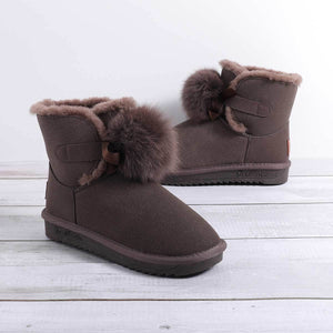 Women's Daily Fur Suede Winter Snow Boots  Low Heel