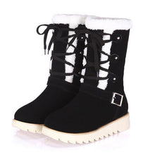 Load image into Gallery viewer, Warm Fur Lined Lace-up Snow Boots