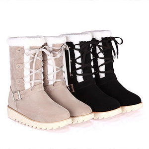 Warm Fur Lined Lace-up Snow Boots