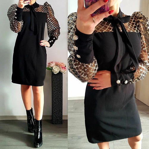 Bow Neck Women Dress Mesh Long Sleeve 2020 Spring See Through Patchwork Female Midi Dress Office Work Wear Lady Dress Robe D30
