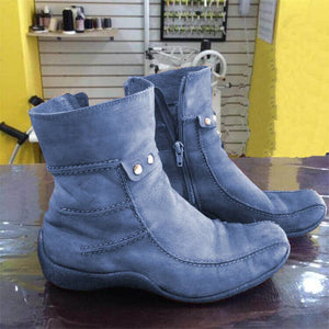 Women Casual Soft Sole Comfy Faux Suede Zipper Boots