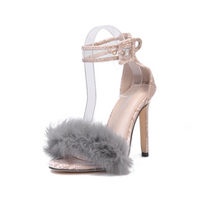 Load image into Gallery viewer, High Heel Stiletto Snake Fur Sandals