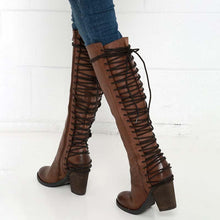 Load image into Gallery viewer, Brown Vintage European Style Casual PU Lace-up Winter Boots