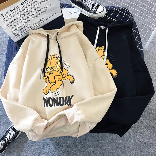 Casual cartoon printed long-sleeved hooded pullover female Korean loose sweatshirt plus velvet autumn and winter new female
