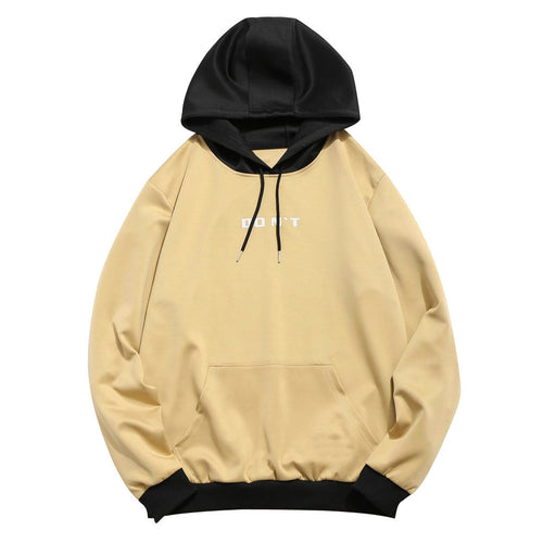 Couple Black Beige Patchwork Sweatshirt Lover Casual Hoodies Top With Pockets Drawstring Long Sleeve Simple Pullover Sudadera#Y3