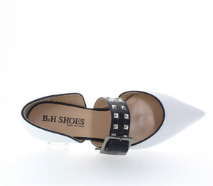 Women's Casual Rivet Buckle Point Flat Shoes