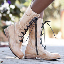 Load image into Gallery viewer, Women Vintage Lace-Up Low Heel Boots