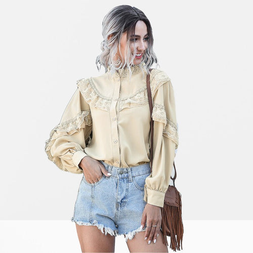Elegant Lantern Long Sleeve Chiffon Shirt Women Spring Casual Lace Ladies Tops Vintage Button White Apricot Ruffle Blouse