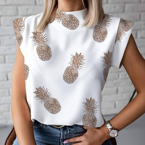 Elegant Red Lips Printed Shirts Blouse Women O Neck Short Sleeve Basic Tops Summer Casual Female Pullover Shirt Blusa Streetwear