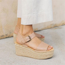 Load image into Gallery viewer, Fashion Simple Casual Woven Wedge Sandals