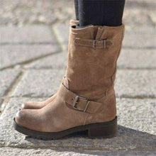 Load image into Gallery viewer, Plus Size Adjustable Buckle Ankle Boots Block Heel Riding Boots