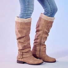 Load image into Gallery viewer, Women's stitching casual knee boots