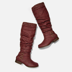 Women's stitching casual knee boots
