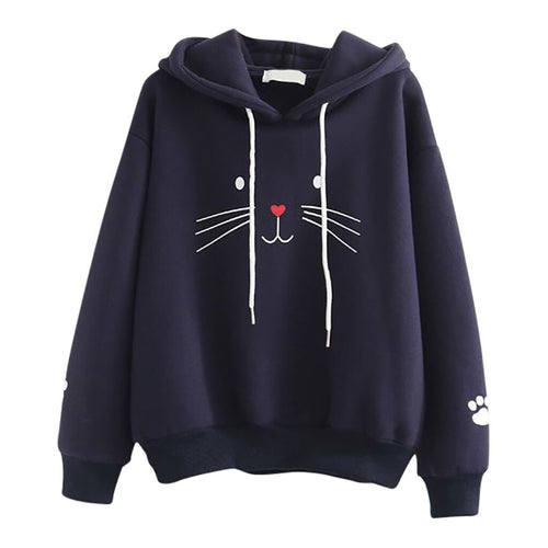 Fashion Autumn Women Casual Cat Printing Sweatshirt Unique Elegant Comfortable Chic Hooded Pullover Tops Loose Blouse#Y3