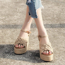 Load image into Gallery viewer, Womens Apricot Summer Wedge Heel Pu Buckle Dress Sandals