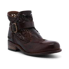 Load image into Gallery viewer, Woman Hollow-Out Buckle Vintage Low Heel Round Toe Combat Boots