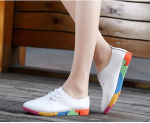 plus size Women shoes 2020 fashion genuine leather casual shoes woman flats shoes comfortable lace-up women footwear walking