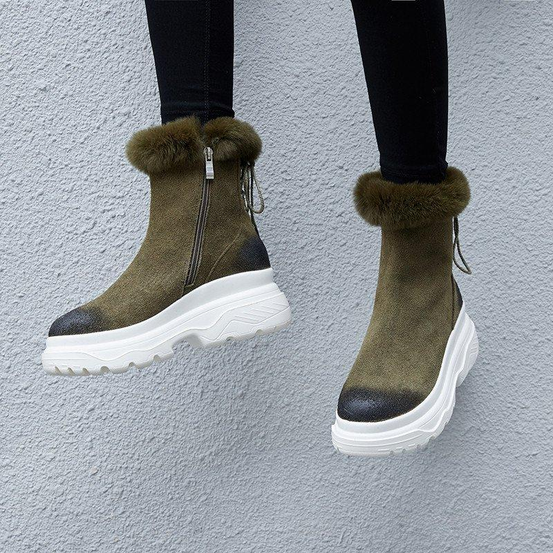 Ankle Boots For Women Suede Leather