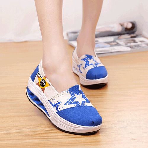 Height Increasing Women Platform Shoes High Quality Canvas Shoes Woman Fashion Sneakers Shockproof Espadrilles Ladies Loafers