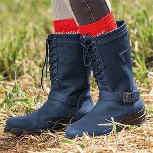 Women Casual Comfy Waterproof Faux Leather Lace-Up Boots