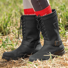 Load image into Gallery viewer, Women Casual Comfy Waterproof Faux Leather Lace-Up Boots
