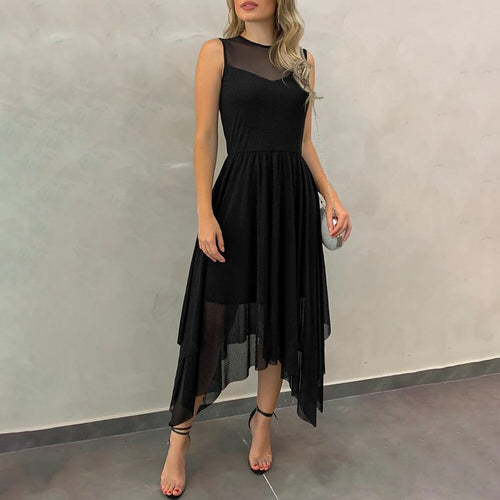 Irregular Ruffled Summer Dress Black Mesh Office Ladies Midi Dresses Sleeveless Work Wear Sundress Female Dress Vestidos D30