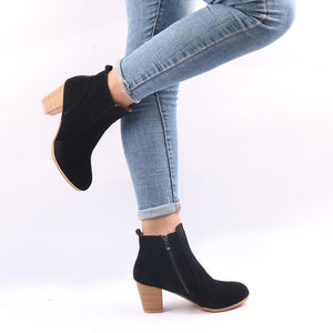 Women Shoes Retro Ankle Boots High Heels Zipper Boots