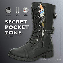 Load image into Gallery viewer, Women's Military Combat Lace up Mid Calf High Credit Card Knife Money Wallet Pocket Boots