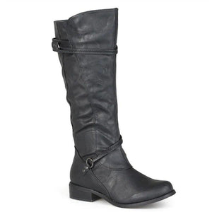 Women Casual Fall Low Heel Zipper Comfy Mid-Calf Boots