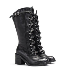 Load image into Gallery viewer, Pu Lace-Up Block Heel Winter Boots
