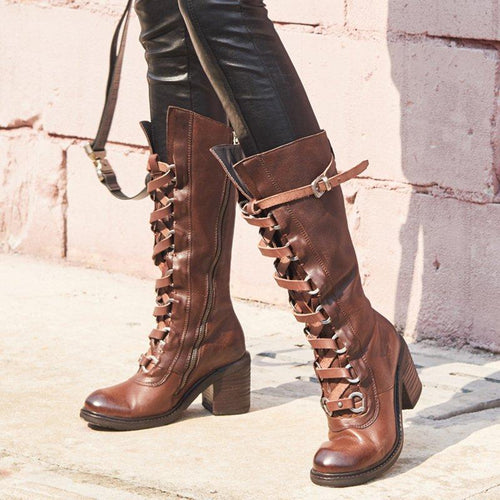 Pu Lace-Up Block Heel Winter Boots