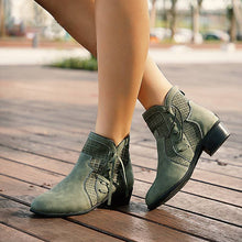 Load image into Gallery viewer, Low Heel Side Hollow Out Casual Zip Ankle Boots