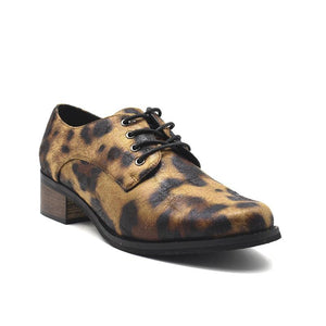 Plus Size Leopard Leather Lace Up Oxford Loafers