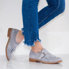 Load image into Gallery viewer, Plus Size Tassel Boho Suede Flat Heel Buckle Loafers