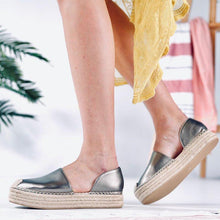 Load image into Gallery viewer, Plus Size Espadrille Side Cut Leather Slip On Loafers